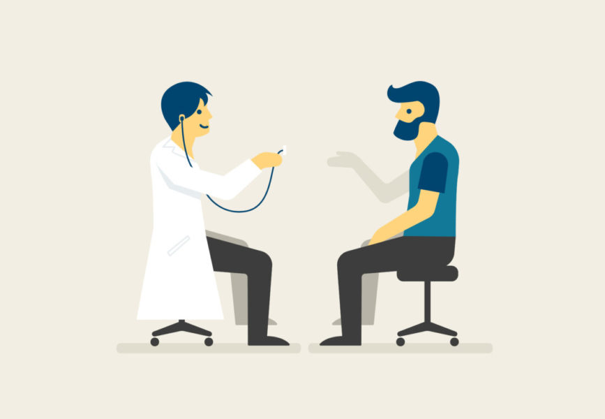 Homem No Médico Fazendo O Tratamento Da Trombocitemia Essencial