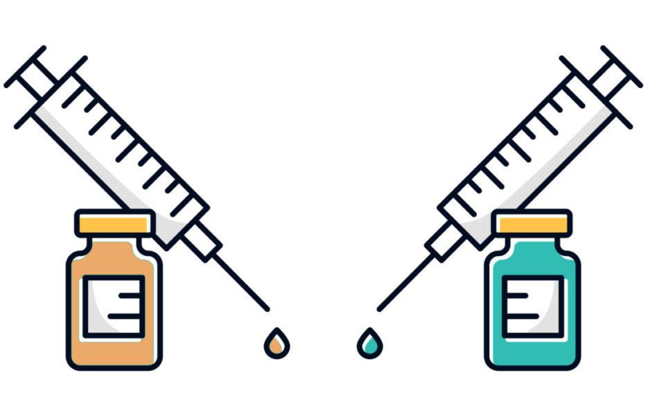 Ilustração Da Vacina Da Gripe E COVID-19