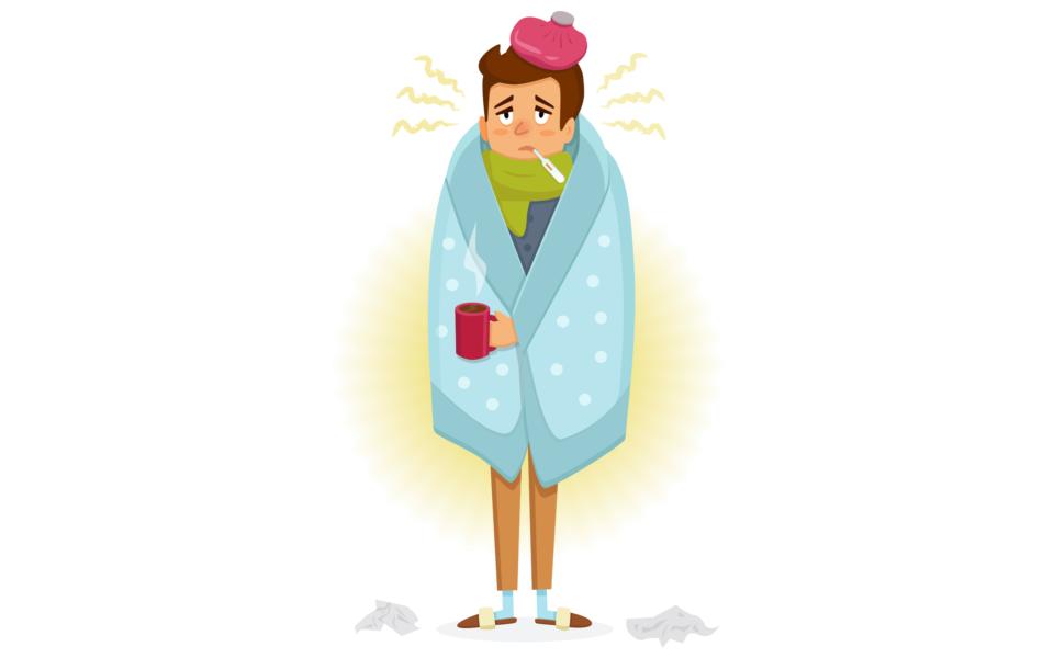 Pessoa Com Covid-19 Com Sintomas De Febre E Coriza