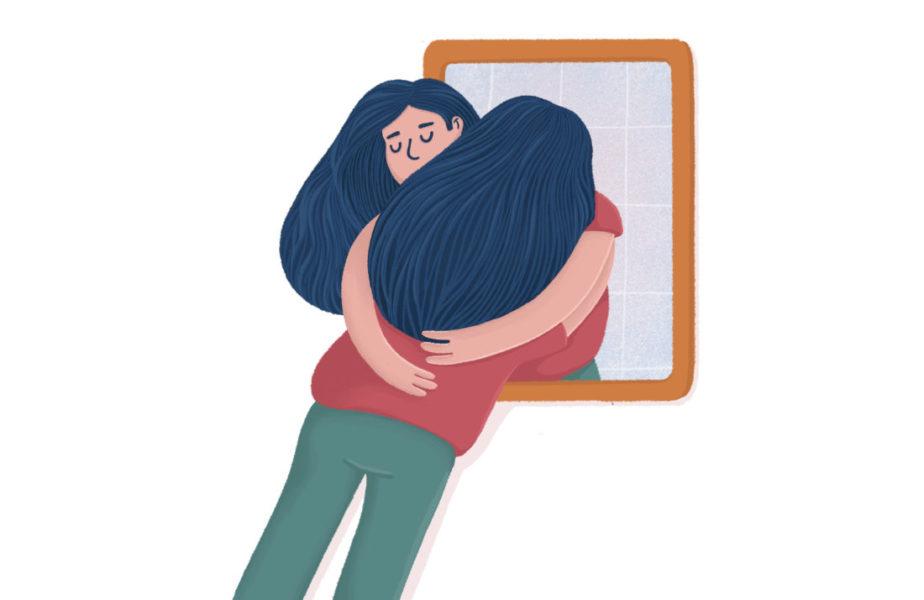 Mulher Abraçando O Seu Reflexo No Espelho Representando O Autocuidado