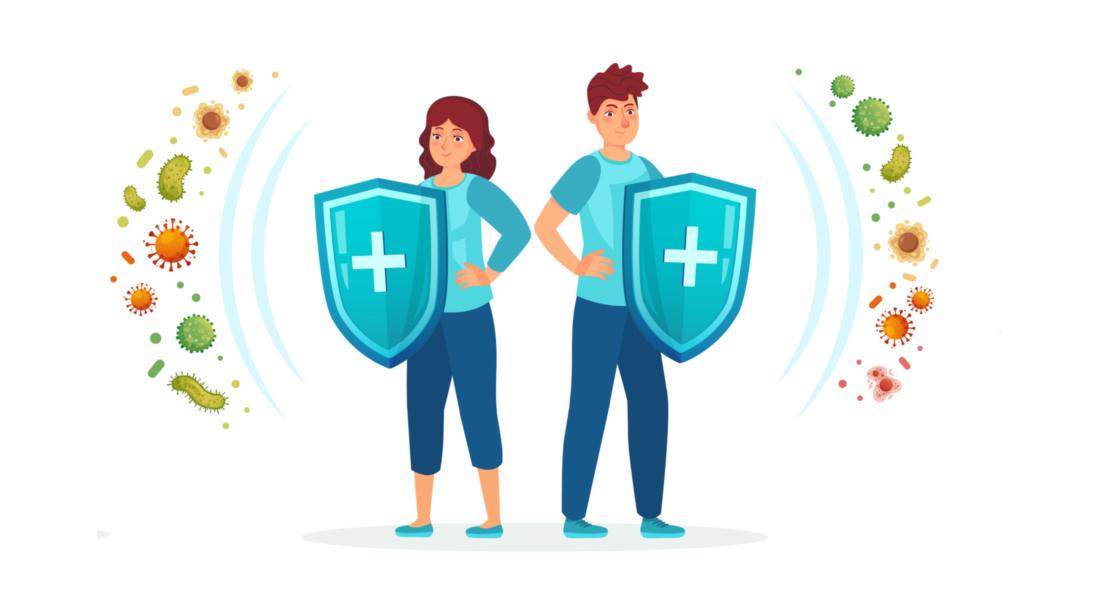 Duas Pessoas Segurando Um Escudo Fazendo A Proteção Contra Ameaças Externas Simulando Um Sistema Imunológico