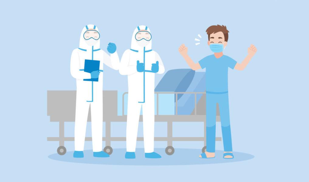 Pessoa Curada Do COVID-19 Recebendo Alta Do Hospital
