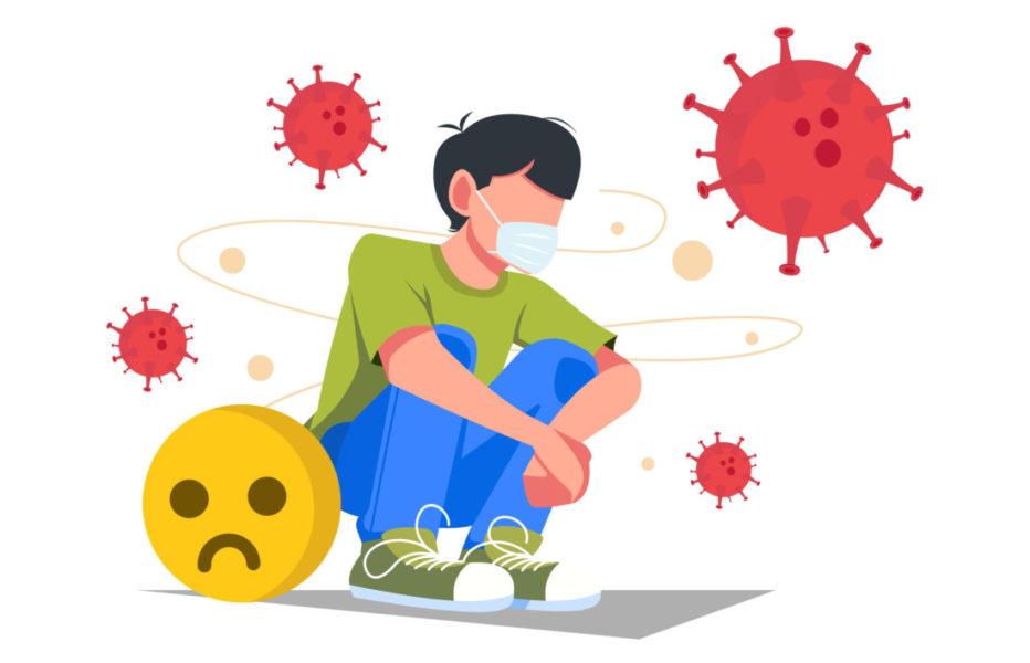Menino Usando Máscara, Sentado No Chão, Com Coronavírus Em Volta Dele E Com A Saúde Mental Abalada