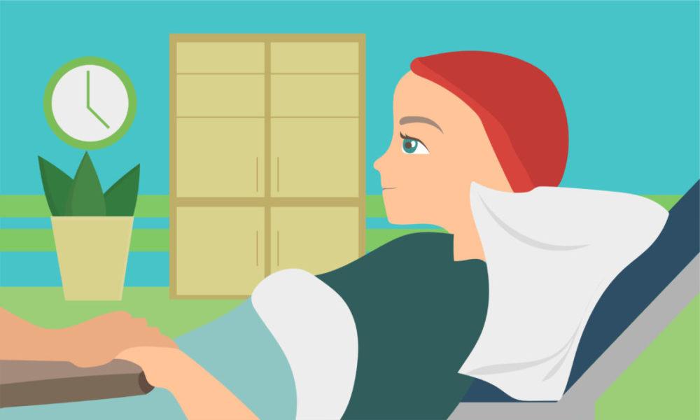 Mulher Com Câncer Deitada Na Cama Dando A Mão Para Uma Segunda Pessoa