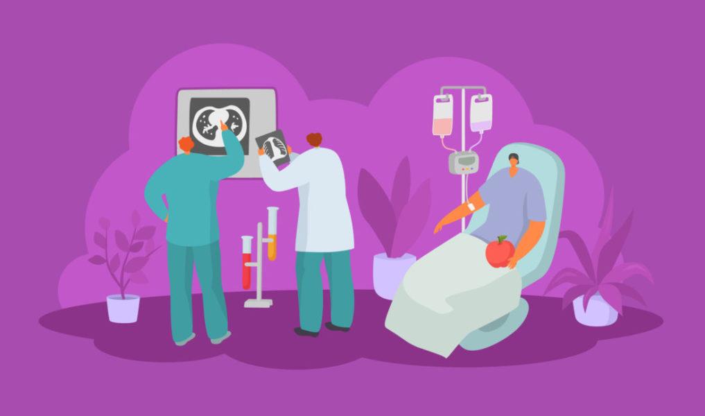 Dois Profissionais Da Saúde Analisando Exames Enquanto Uma Pessoa Faz Quimioterapia