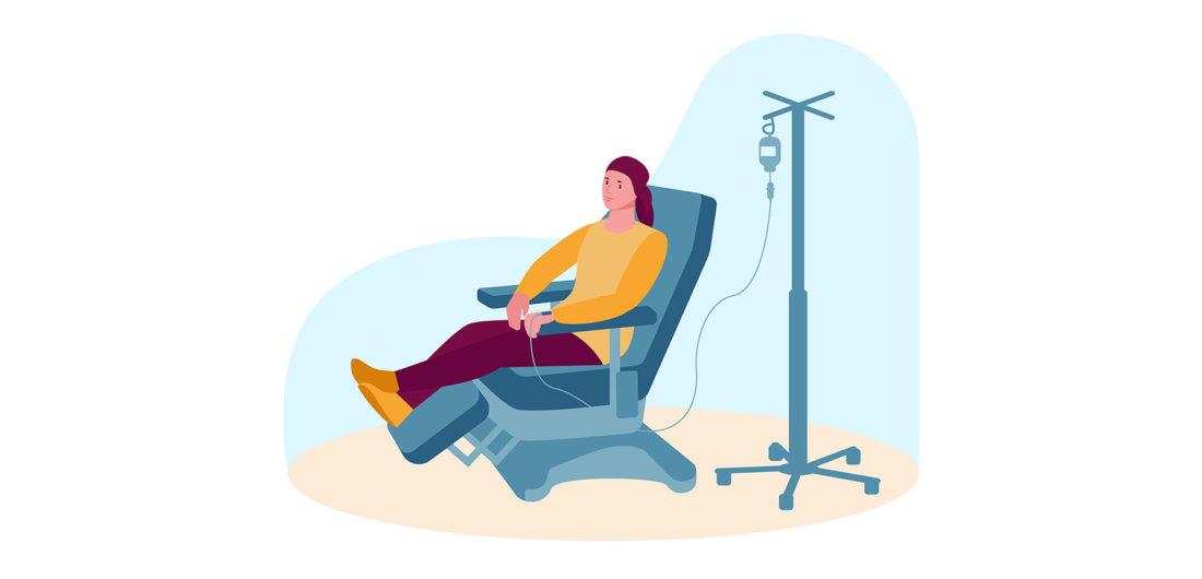 Paciente Fazendo Quimioterapia Como Tratamento Para Linfoma Do Manto