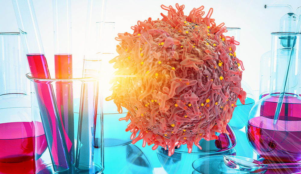 Tubos De Ensaio Ao Lado De Uma Célula De Câncer