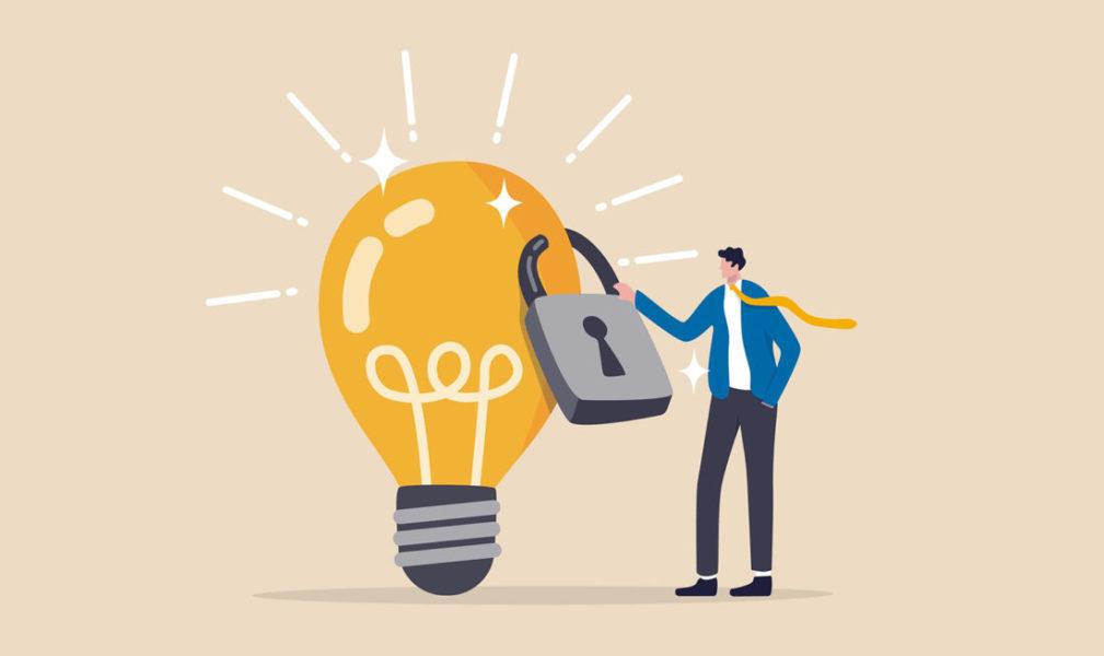 Homem Trancando Com Um Cadeado Uma Inovação