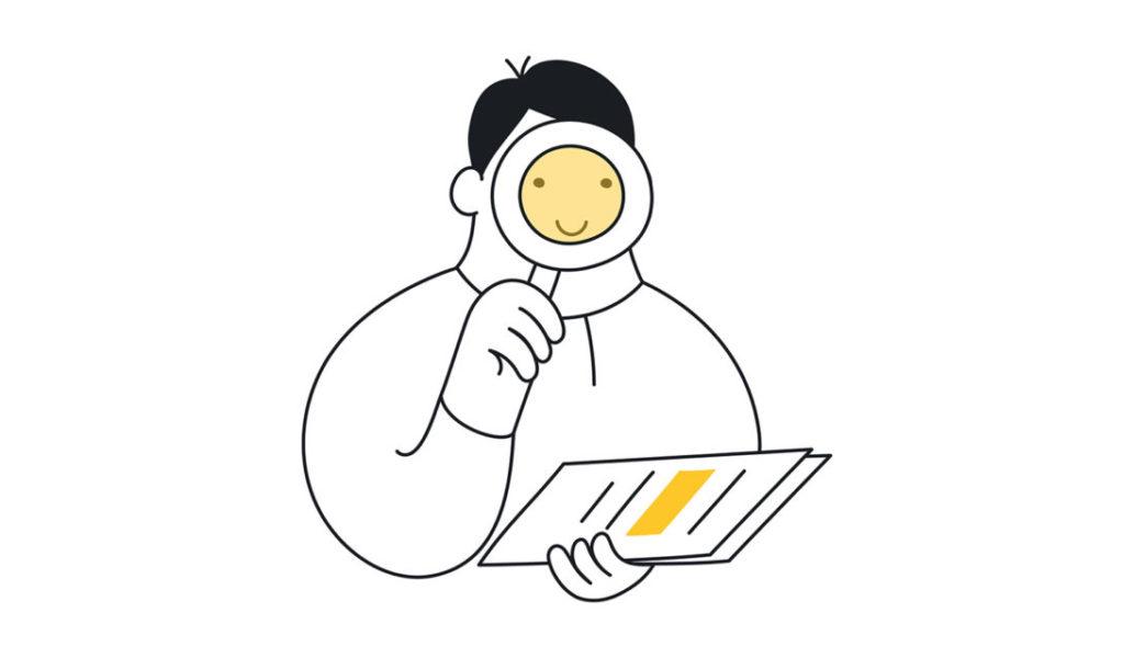 Pessoa Com Uma Lupa Procurando Uma Informação Em Um Documento